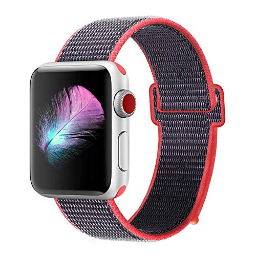HILIMNY Compatible for Apple Watch Band 42mm, New Nylon Sport Loop, with Hook and Loop Fastener, Adjustable Closure Wrist Strap, Replacement Band Compatible for iwatch, 42mm, Electric Pink