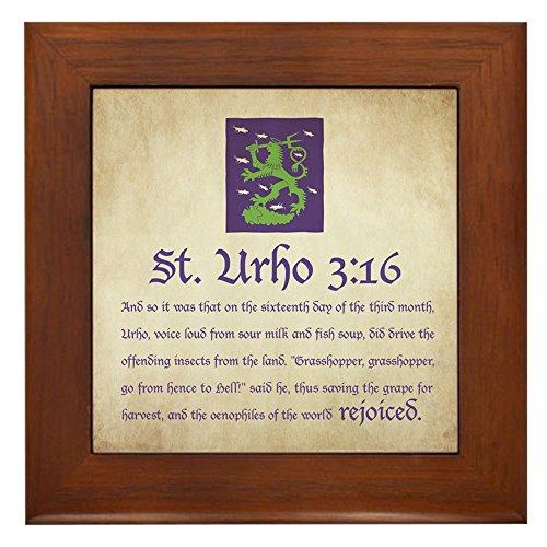 (CafePress - St. Urho 3:16 Framed Tile - Framed Tile, Decorative Tile Wall Hanging)