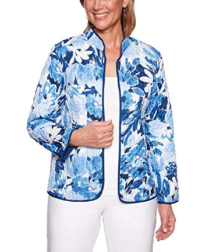 Alfred Dunner Women's Classics Reversible Floral Quilted Jacket, Blue Multi, 12