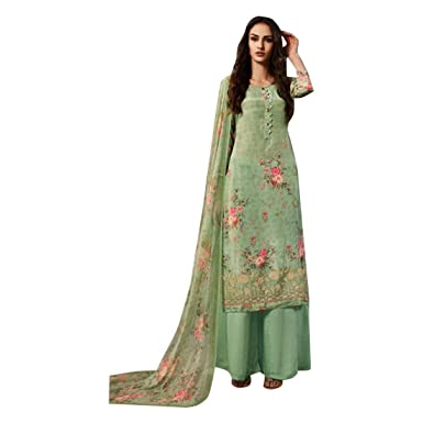 0196f04361 Image Unavailable. Image not available for. Color: Pista Digital Printed  Palazzo Salwar Kameez Suit with Dupatta Ethnic Indian Women Designer ...
