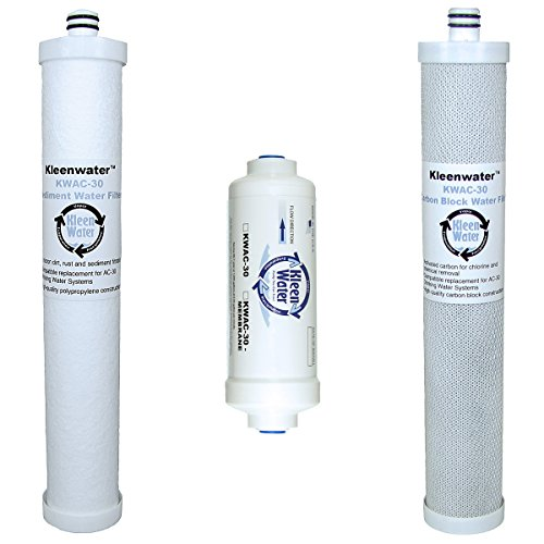 Culligan AC-30 Compatible Filters, KleenWater Type Reverse Osmosis Drinking Water System Replacement Cartridges, 3 Filter Set