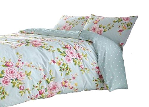 UPC 696736776991, SUPERB COTTON FULL PINK BLUE ROSE FLORAL REVERSIBLE SHABBY DUVET COMFORTER COVER