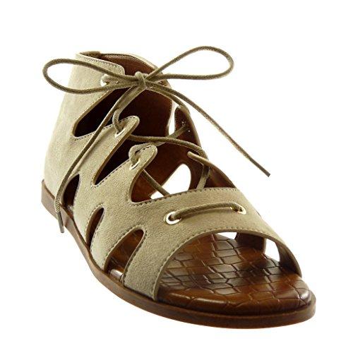 Talon Spartiates 1 Croco Beige Plat Montante Mode Femme Lacets Chaussure Cm Sandale Angkorly w8Hnfgxx