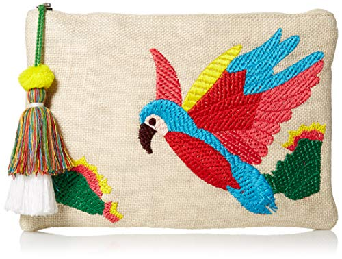 (Twig & Arrow Embroidered Parrot Clutch,)