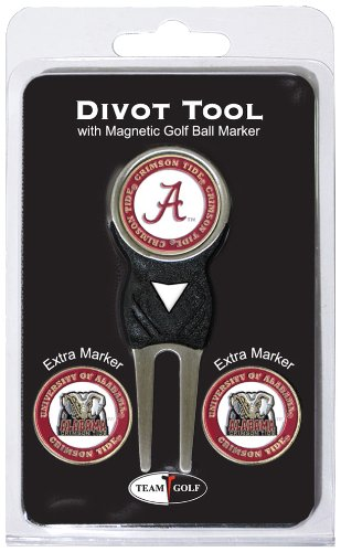 Team Golf NCAA Alabama Crimson Tide Divot Tool with 3 Golf Ball Markers Pack, Markers are Removable Magnetic Double-Sided Enamel