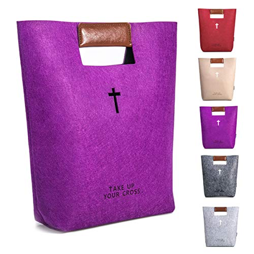AGAPASS Handbag Felt Bible Cover for Women,Cute Bible Carrying Case, Carved Cross Holy Bible Bag, Christian Gifts for Week Deals,Leather Tote Church Bible Study Case, Purple