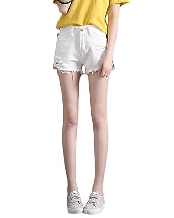 Yonglan Femmes Vintage Denim Taille Haute Trous Jeans Shorts Rayures  Latérales Courtes Pantalons Blanc XL 0b029755e12