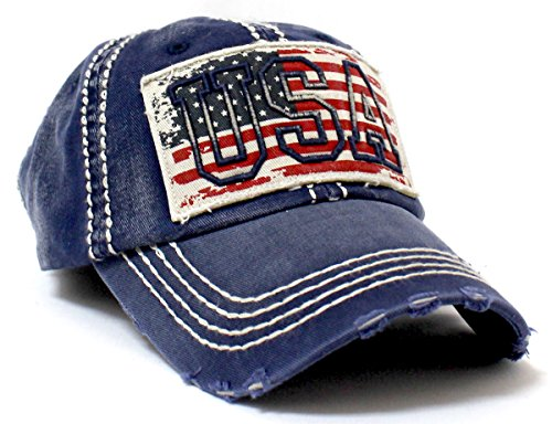 NAVY BLUE Vintage Baseball Cap w/ Red, White, & Blue Flag Patch and