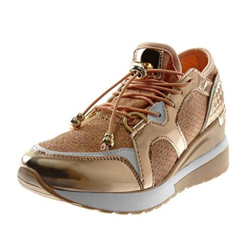Angkorly Damen Schuhe Sneaker Keilabsatz - BI-Material - Sporty Chic - Plateauschuhe - Gesteppt Schuhe - Glänzende - Elastisch Keilabsatz High Heel 6 cm Champagner