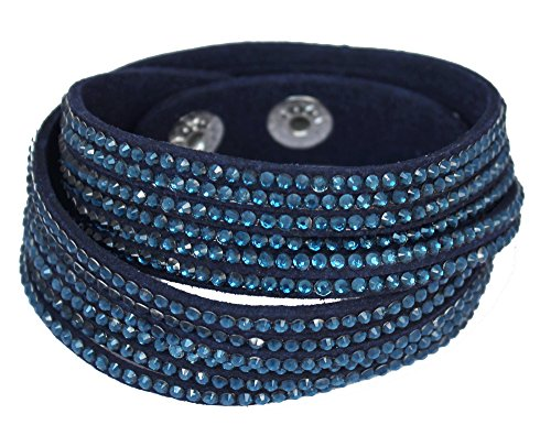 Sophistikitty Velvet wrap bracelet with Rhinestones - Navy Blue