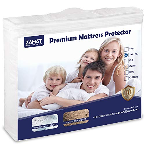 """ZAMAT Premium 100% Waterproof Mattress Protector, Breathable & Noiseless Mattress Pad Cover, Fitted 14""""-18"""" Deep, Vinyl Free, Hypoallergenic   Dust Proof   Smooth Soft Cotton Terry Covers (Twin XL)"""