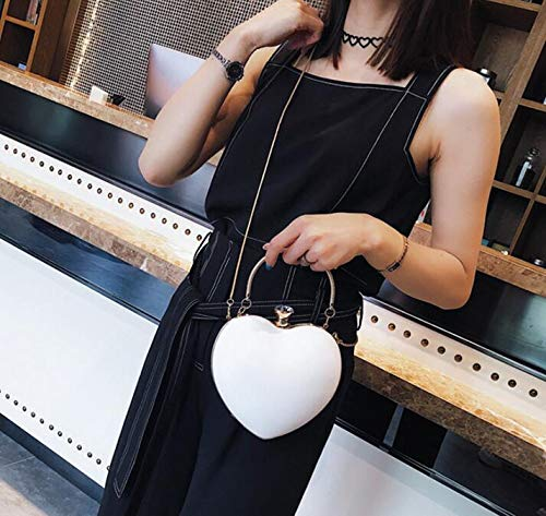 120cm Hero Pink Shoulder Strap White Clutch Sun Bag with Dinner Stylish Bag Heart Shaped Messenger Ladies PwdqO6