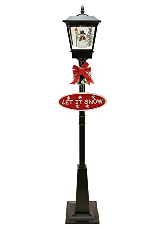northlight 7075 lighted musical snowman vertical snowing christmas street lamp
