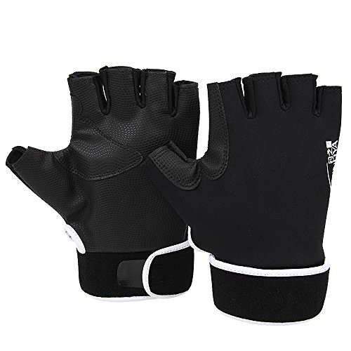 YOGAYET Men's Neoprene Fishing Gloves Anti-slip Waterproof Sun Protection Gloves for Fishing Hunting Riding Cycling black (Black Fingerless Neoprene Gloves)