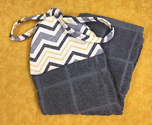(Grey Gray Yellow Black Chevron Reversible Kitchen Ties On Hanging Hand Towel )