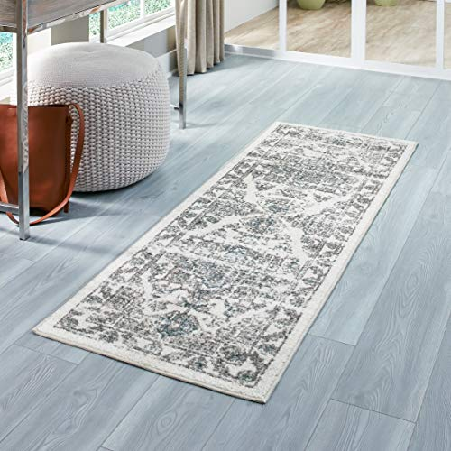 Maples Rugs Runner Rug - Distressed Tapestry 2 x 6 Non Skid Hallway Entry Rugs Runners [Made in USA] for Kitchen and Entryway, Neutral