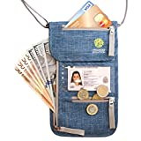 Travel Neck Pouch with RFID, Passport Holder, Travel Wallet That Keeps You Safe, for Men and Women … (Blue Denim)