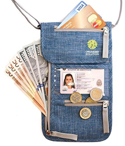 Passport Wallet by Organizer Solution, Family Passport Holder with Rfid, Neck Stash (Blue Denim)