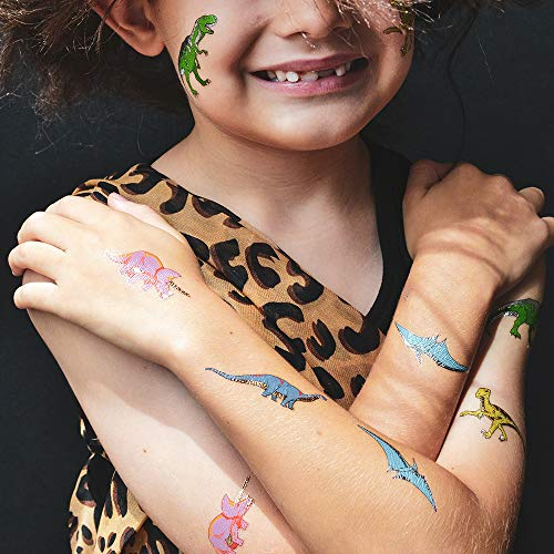 Dinosaur Variety Set includes 25 assorted premium waterproof colorful metallic kids temporary foil Fun Tats by Flash Tattoos, party favor by Flash Tattoos (Image #7)