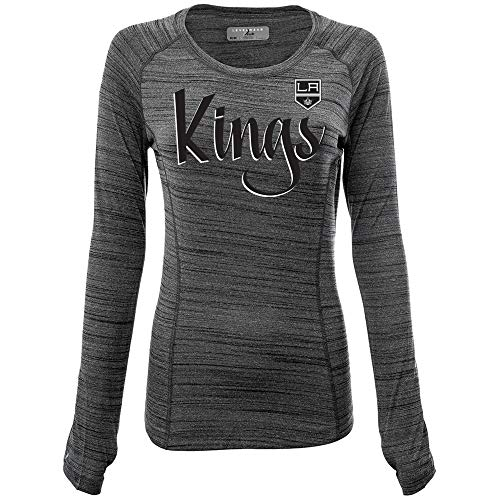 NHL Los Angeles Kings Womens Paris Retro Script Ladies Long Sleeve Top, Heather Grey, ()