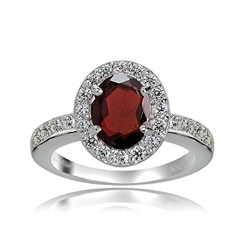 Sterling Silver Garnet and White Topaz Oval Halo Ring (8)