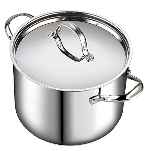 Cooks Standard 02520 Quart Classic Stainless Steel Stockpot with Lid, 12-QT, - 5 Steel Stainless Pot Gallon