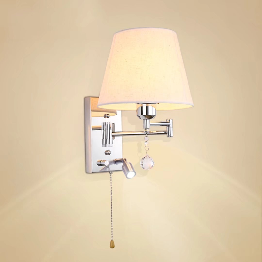 Wall Lamp with Switch Bedroom Bedside Led Wall Sconce Metal & Cloth Lampshade Reading Lamp Work Lights