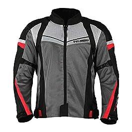 TVS Polyester Riding Jacket – Level 1 (Red Line, Medium)