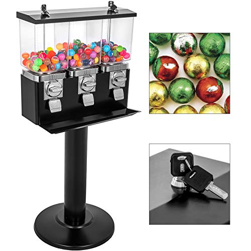 VBENLEM Triple Head Candy Vending Machine with Stand 3 Containers Gumball Vending Machine on Stand Adjustable Candy Outlet Size Gumball Bank Gumball Bank