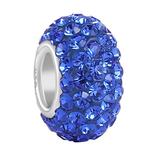 Sapphire Slide Spacer (BoRuo Charms 925 Sterling Silver Czech Crystal Sapphire Glass Ball Beads Spacers September Birthstone Top Quality Solid Core Charm Fit All Bracelets.)
