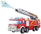ToyZe® Fire Truck with Water Pump and Extending Ladder with Flashing Lights & Sirens, Battery Operated Bump & Go Action Toy