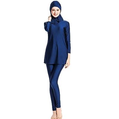 lkoezi Women Slim Swimsuit, Lady Solid Clor Non-Slip Beachwear Hooded Three-Piece Muslim Bathing Suit with Cap Split Wimwear : Garden & Outdoor