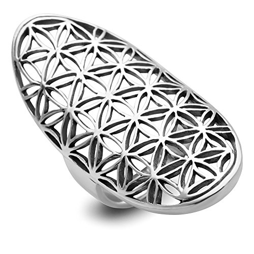925 Sterling Silver Open Filigree Flower of Life Symbol 4 CM Long Large Band Ring Size 8 (Celtic Protection Ring compare prices)