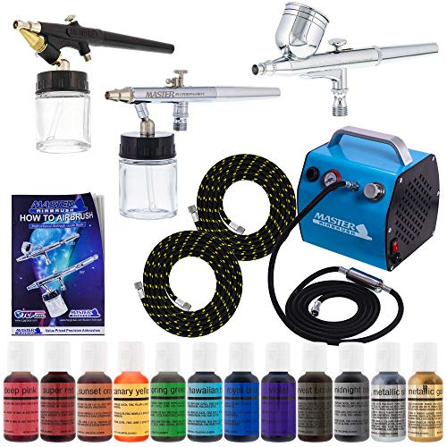 Bakery Airbrush Cake Kit with 3 Airbrushes, Compressor, 2 Air Hoses & 12 Color Chefmaster Food Coloring Set.7 fl Ounce from Master Airbrush
