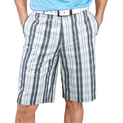 Monterey Club Mens Plaid Madras Shorts #1847 (Sea Green/Black, Size:36) - Mens Plaid Golf Shorts