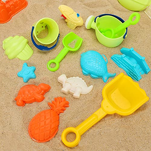3 otters 29PCS Beach Toys, Colorful Sand Toy Set Kids Beach Toys Water Gun, Molds, Shovels, Buckets and Watering Can