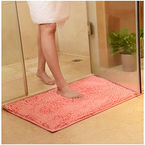 XMWEALTHY Non-slip Bathroom/Bedroom/kitchen Shaggy Door Mat Floor Mat Area Rugs(Pink) - 19.5
