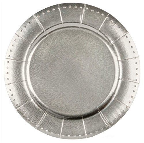 Set of Ten (10) Silver, Silver Spoons and More Charger Collection Large 13' Beaded Texture Round Disposable Charger Plates