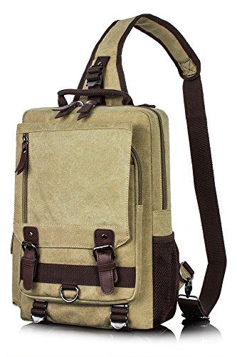 ee3ee18713bf Canvas Messenger Bag for Men Laptop Sling Backpack Cross Body Shoulder  Travel Rucksack Hkaki vintage