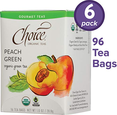 Choice Organic Teas Gourmet Green Tea, 6 Boxes of 16 (96 Tea Bags), Peach Green ()