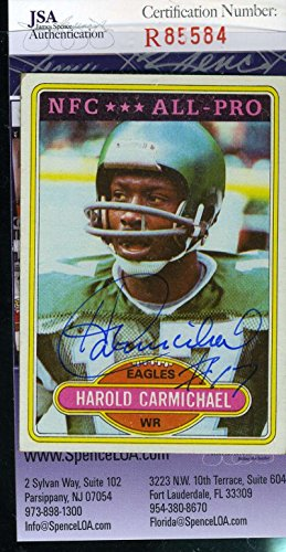 (HAROLD CARMICHAEL JSA COA Autographed 1980 TOPPS Authenticated Hand Signed Eagles)