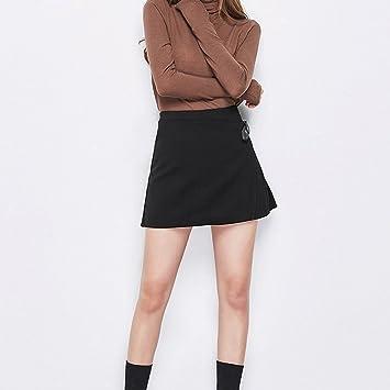 6729ef20b2 Elegante Falda Plisada Negra Salvaje Hebilla una Palabra Minifalda Usar  Faldas Otoño E Invierno Mujeres