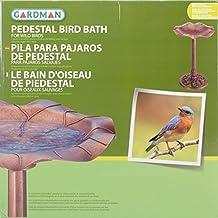 "Gardman BA01282 Lily Leaf Pedestal Bird Bath, Antique Bronze Effect, 20"" Wide x 28"" High"