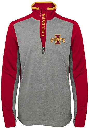 """NCAA by Outerstuff NCAA Iowa State Cyclones Youth Boys """"Matrix"""" 1/4 Zip Long Sleeve Top, Dark Red, Youth Large(14-16)"""