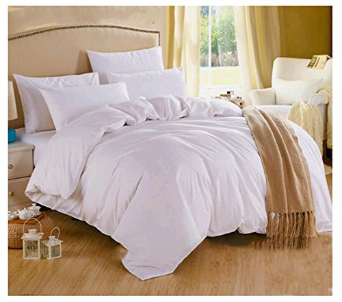 3 Piece Duvet Cover set,100% Cotton Duvet Cover With 2 Pillow Cases-250TC Alternative Goose Down-Hypoallergenic Soft and Fade Wrinkle Resistant-Luxury Soft Hotel Quality Collection-Queen Size White