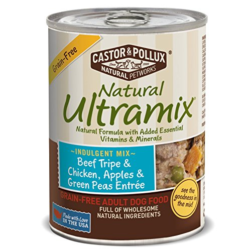 Natural Ultramix Beef Tripe & Chicken, Apples & Green Peas Entree Grain-Free for Adult Dogs, 13.2-Ounce Cans (Pack of 12)