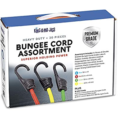 30 Pack - Premium Grade Bungee Cords Assortment - Variety of: Heavy Duty Bungee Cord Tie Down Straps With Hooks (Assorted Colors 18, 24, 32, 40 Inch) Ball Bungees (Black, 10