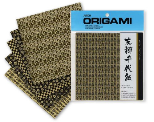 Aitoh Origami Yuzen Paper, 5 7/8 inch Squares, 5 Sheets, Gold Designs on Black (YGB-4)