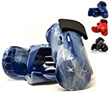 whistlekick Pair Martial Arts Gloves - Karate Gear and Taekwondo Sparring Gear Set (Horizon (Blue Swirl) Adult Large) with FREE Backpack Karate Gloves Martial Arts Equipment Karate Sparring Gear Set