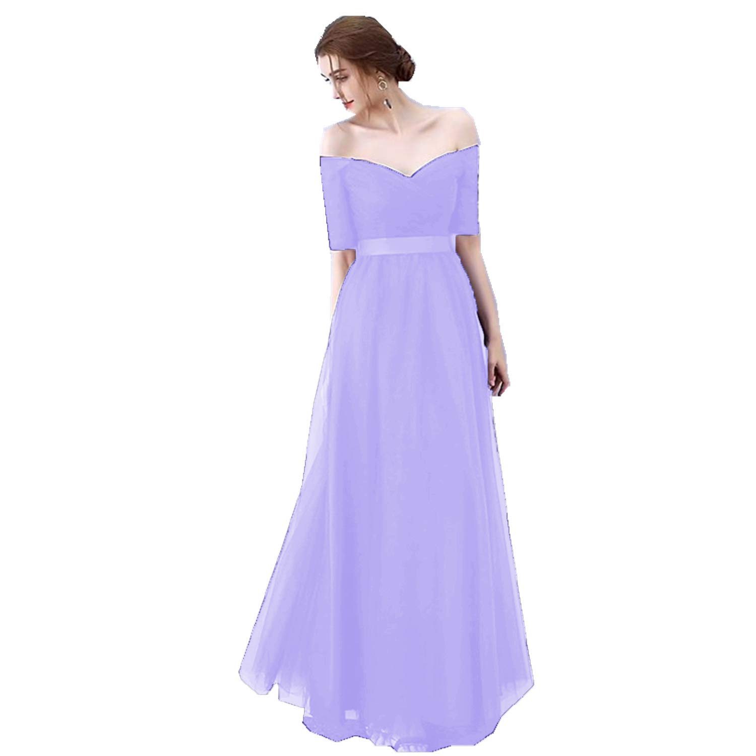 Lavender Ruiyuhong Women's VNeck Off The Shoulder Bridesmaid Dresses Long Tulle Wedding Party Gown